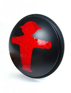 Ampelmännchen Ampelglas Ostalgie Deko schwarz-rot