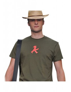 Ampelmännchen-T-Shirt für Herren olive-grün-rot