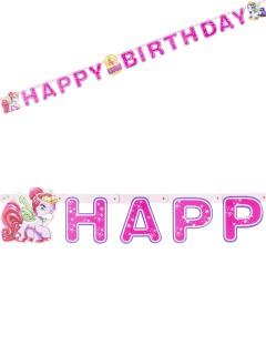 Girlande Happy Birthday Filly Fairy Ponys Kindergeburtstag Deko bunt 190x15cm