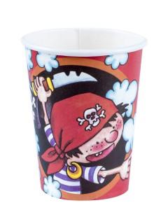 Piraten Becher Kindergeburtstag Deko 8 Stück schwarz-bunt 250ml