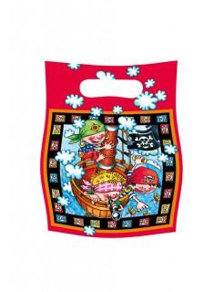 Partytüten Geschenktüten Piraten Kindergeburtstag Deko 6 Stück schwarz-bunt 16x23cm