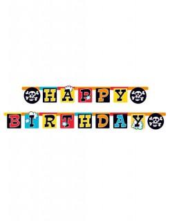 Girlande Happy Birthday Kindergeburtstag-Deko schwarz-bunt 180x15cm