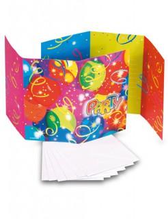 Einladungskarten Party mit Umschlag 6 Stück bunt 15x9cm