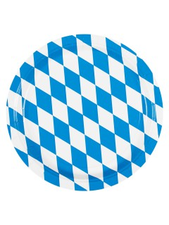 Pappteller Bayern Party-Deko 8 Stück blau-weiss 23cm