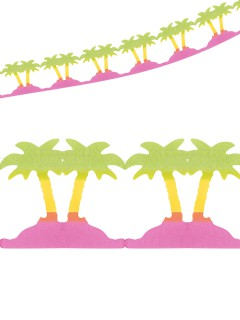 Girlande Palmen Hawaii Party-Deko grün-gelb-pink 400x20cm