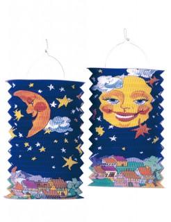 Laterne Mond Gartenparty-Deko blau-orange
