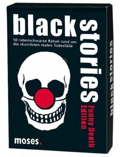 Black Stories Funny Death Edition Rätsel Kartenspiel schwarz-weiss-rot 9x13cm