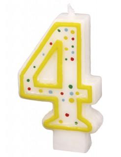 Geburtstagskerze Zahl 4 Torten-Deko weiss-gelb 6cm