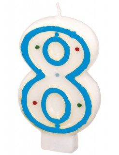 Geburtstagskerze Zahl 8 Torten-Deko weiss-blau 6cm