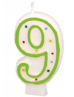 Geburtstagskerze Zahl 9 Torten-Deko weiss-grün 6cm