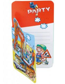 Einladungskarten Little Workers Kindergeburtstag-Deko 6 Stück bunt