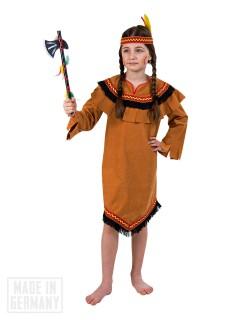 Indianerin Kriegerin Kinderkostüm braun-schwarz-gelb-rot
