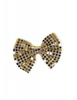 Pailletten-Fliege Schleife gold