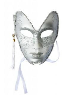Venezianische Maske Theatermaske Glitter Karneval silber