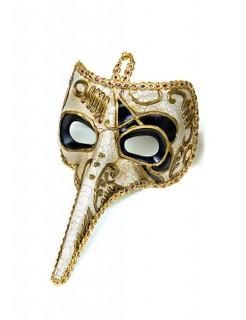 Venezianische Maske Theatermaske Schnabelmaske Karneval gold-schwarz