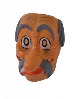 Maske Theatermaske Gesichtsmaske alter Mann braun-weiss