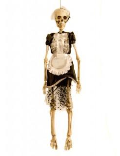 Skelett Zimmermädchen Hausmädchen Halloween Deko beige-schwarz 47cm