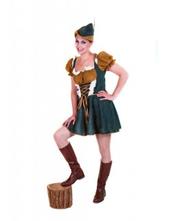 Gesetzeslose Outlaw Bogenschützin Damenkostüm grün