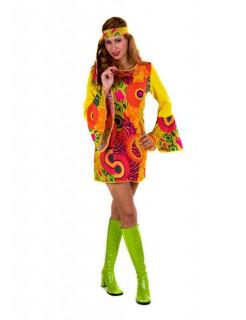 Hippie Blumenmädchen 60er 70er Flower Power Damenkostüm rot-gelb-grün