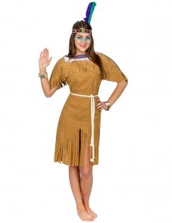 Indianerin Kriegerin Kleid Damenkostüm braun