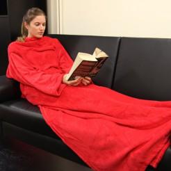 Ganzkörperdecke mit Ärmeln Wellness-Decke rot