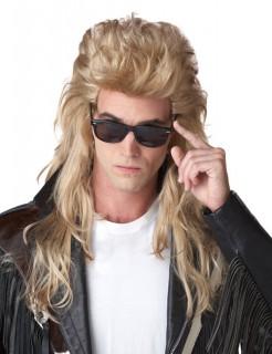 80er Jahre Rocker Langhaar Vokuhila Perücke blond