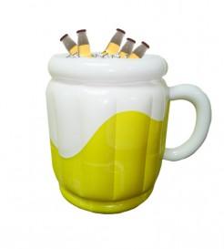 Aufblasbarer Bier-Eimer Party-Gadget weiss-gelb 44x32x42cm