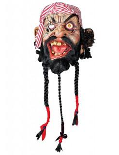 Zombiepirat Halloween Latexmaske hautfarben-rot-schwarz