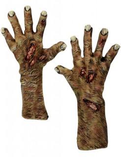 Zombie-Handschuhe Klauen Halloween-Accessoire gelb-braun