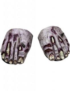 Halloween Schuhüberzieher Leichenfüße grau-rot