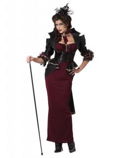 Gothic Hexe Halloween Damenkostüm schwarz-weinrot