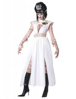 Zombie Untote Leiche Halloween Damenkostüm weiss-beige