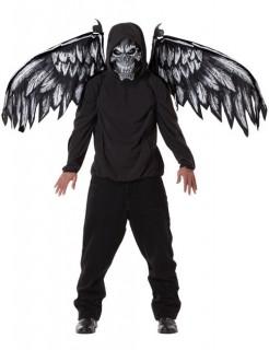 Gefallener Engel Dämon Halloween-Kostüm-Set Maske und Flügel schwarz-grau