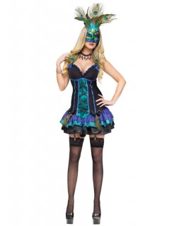 Venezianischer Pfau Damen Kostüm schwarz-türkis