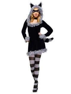 Sexy Waschbär Damenkostüm schwarz-grau