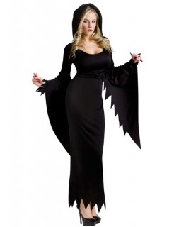Gothic Hexe Halloween Damenkostüm schwarz