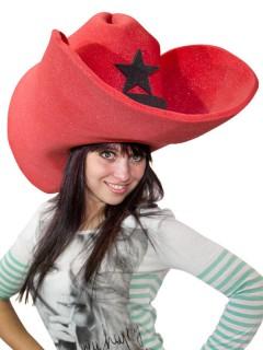 Riesen Comic Cowboy Hut rot