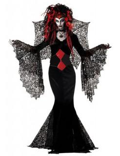 Schwarze Witwe Halloween Gothic Damenkostüm schwarz-rot