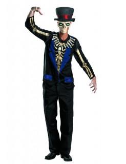 Voodoo Skelett Halloween Kostüm schwarz-blau