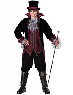 Viktorianischer Vampir Graf Halloween Kostüm schwarz-bordeaux