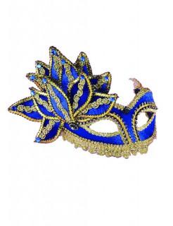Venezianische Maske mit Blüte Pailletten blau-gold