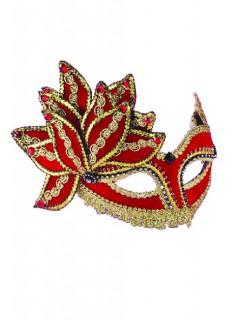 Venezianische Maske mit Blüte Pailletten rot-gold