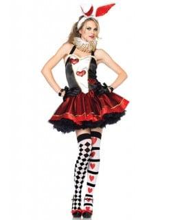 Hase Alice Damen Kostüm schwarz-rot-weiss