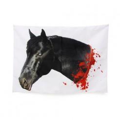 Abgehackter Pferdekopf-Kissenbezug schwarz-weiss-rot 50x70cm