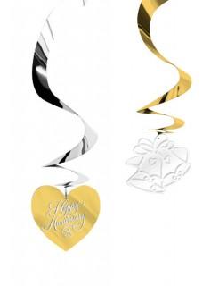 Hochzeitstag Jahrestag Happy Anniversary Hängedeko 5 Stück gold-silber 60cm