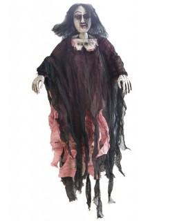 Zombie-Braut Halloween-Hängedeko schwarz-rot 90cm