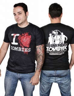 Zombie-T-Shirt Halloween-Shirt I love Zombies schwarz-rot-weiss