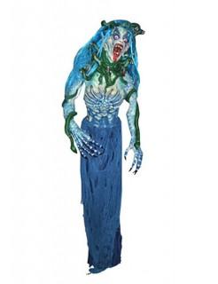 Medusa Halloween-Monster-Dekofigur blau-grün 190cm