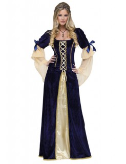 Mittelalter Burgfräulein Damenkostüm blau-beige