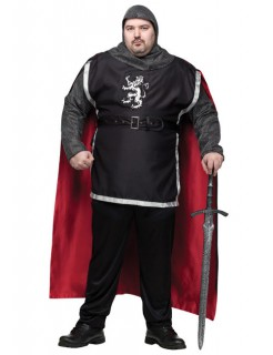 Ritter Mittelalter Herrenkostüm grau-rot